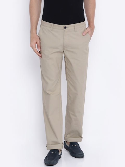 Indian Terrain Beige Low-Rise Kansas Fit Chino Trousers