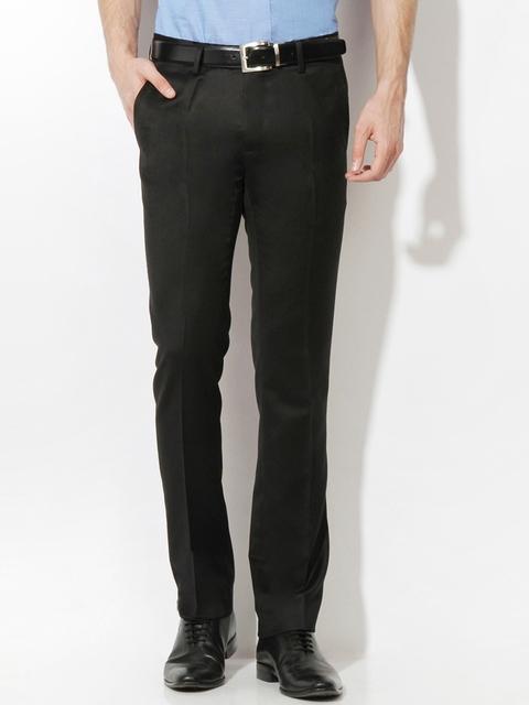 Van Heusen Men Black Slim Fit Formal Trousers