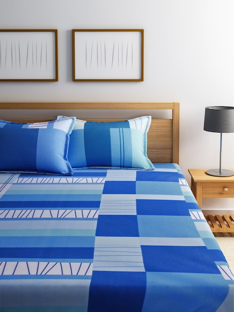 Dreamscape Blue Printed Cotton Double Bedsheet with 2 Pillow Covers