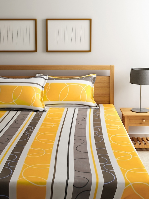 Dreamscape Yellow & White Striped Cotton Double Bedsheet with 2 Pillow Covers