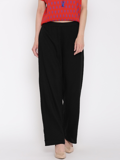Global Desi Women Black Parallel Trousers