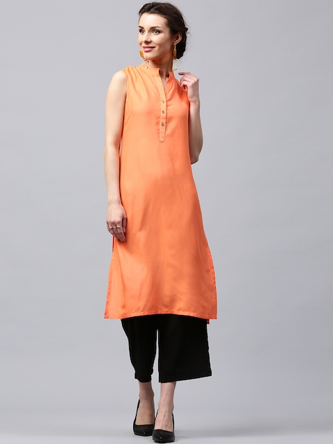 Libas Women Coral Orange Solid Straight Kurta  available at myntra for Rs.299