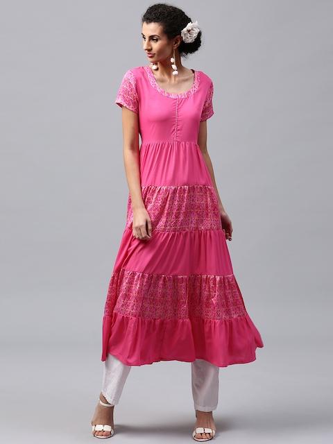 Libas Women Pink Printed Anarkali Kurta  available at myntra for Rs.339