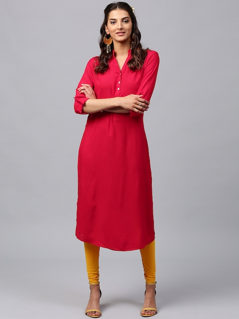 Libas Women Red Solid Straight Kurta  available at myntra for Rs.399