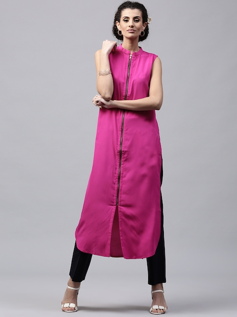 Libas Women Pink Crepe Solid Straight Kurta  available at myntra for Rs.219