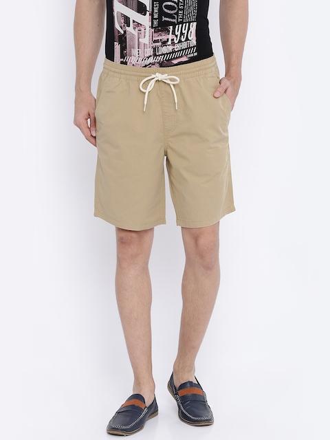 Vans Men Khaki Solid Shorts