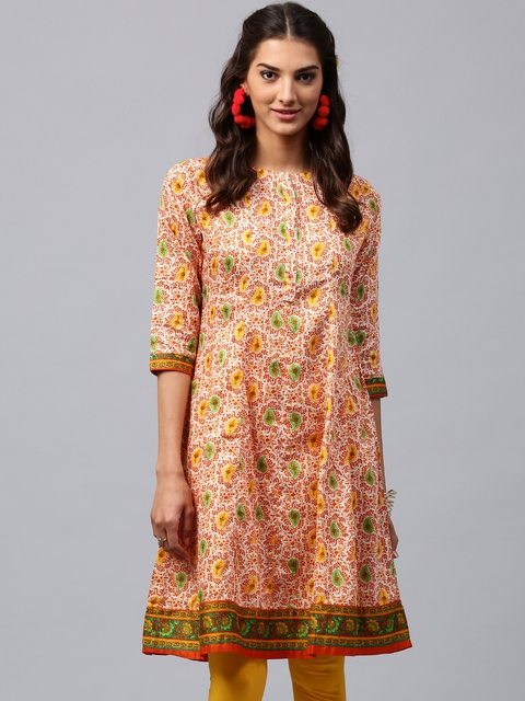 Libas Women Orange Printed Anarkali Kurta  available at myntra for Rs.539
