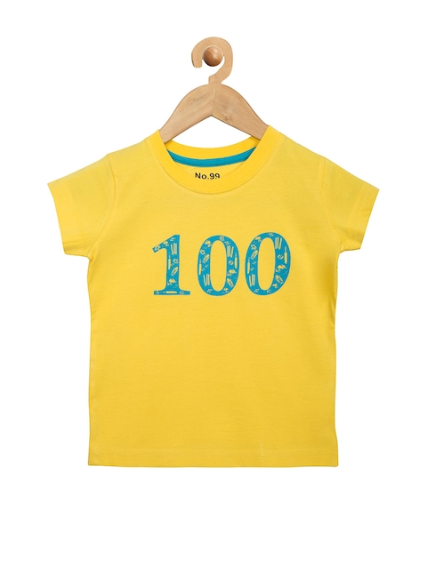NO.99 Boys Yellow Printed Round Neck T-shirt  available at myntra for Rs.269