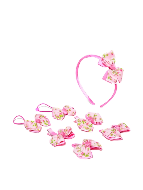 Golden Peacock Girls Pink Printed Hair Accessory Set