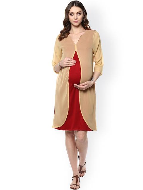 Mine4Nine Women Maroon & Beige Solid A-Line Maternity Dress