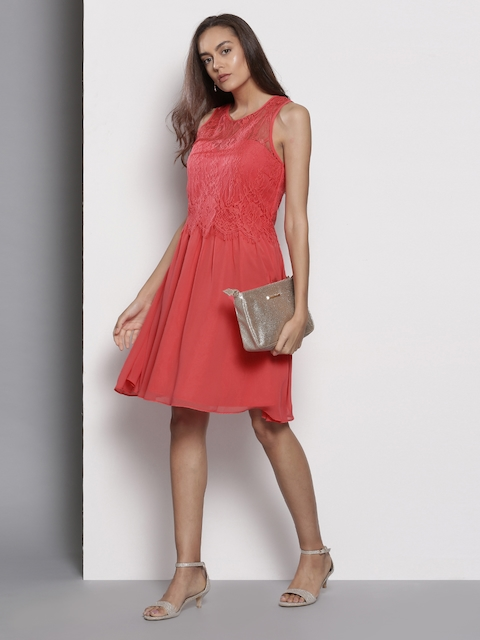 DOROTHY PERKINS Coral Red Self-Design Fit and Flare Dress
