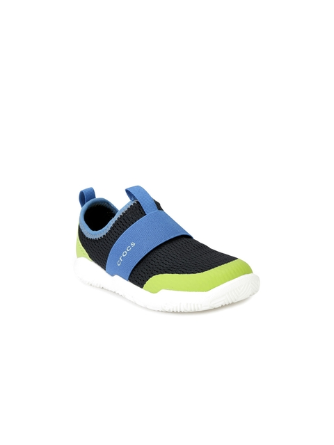 Crocs Girls Black & Blue Colourblocked Slip-On Sneakers