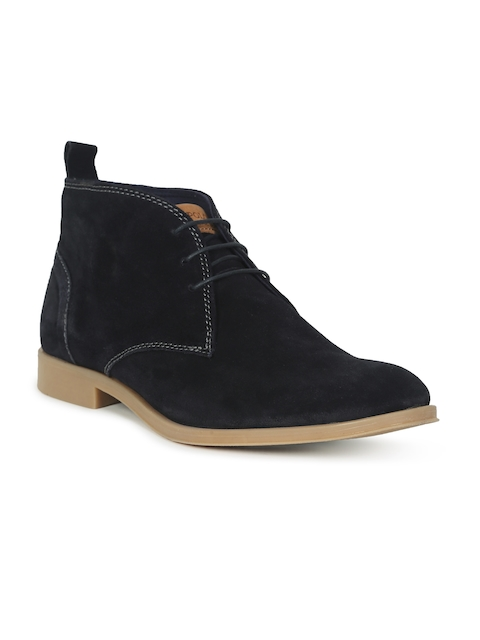 U.S. Polo Assn. Men Navy Solid Suede Mid-Top Flat Boots