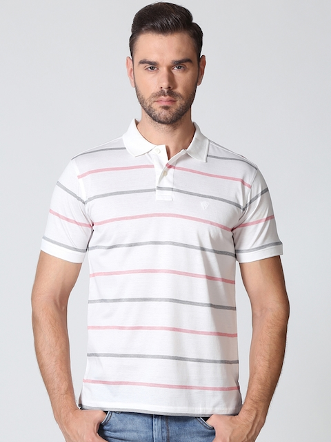 Allen Solly Men White Striped Polo Collar T-shirt