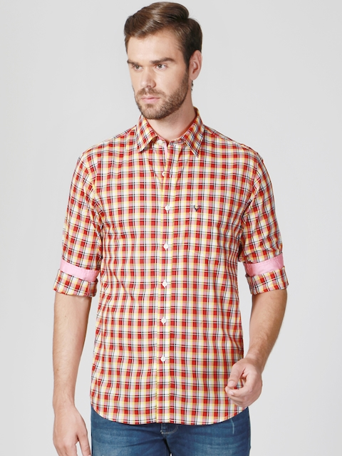Allen Solly Men Red Slim Fit Checked Casual Shirt