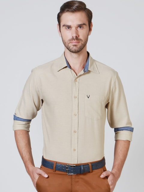 Allen Solly Men Beige Slim Fit Semiformal Shirt