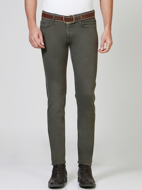 Solly Jeans Co. Men Olive Green Skinny Fit Mid-Rise Clean Look Jeans