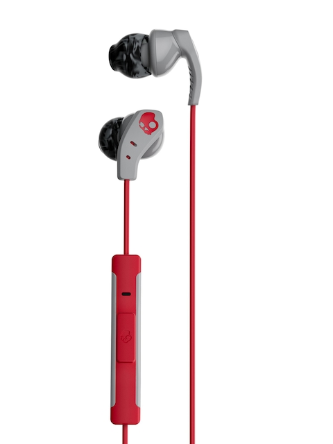 Skullcandy Grey and Red Sport Method In-Ear Headphones with Mic & Remote