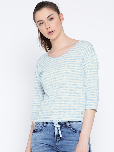 Monte Carlo Women Blue & Off-White Striped High-Low Top