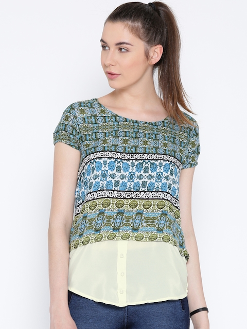 Monte Carlo Women Green & Off-White Printed Styled Back Top