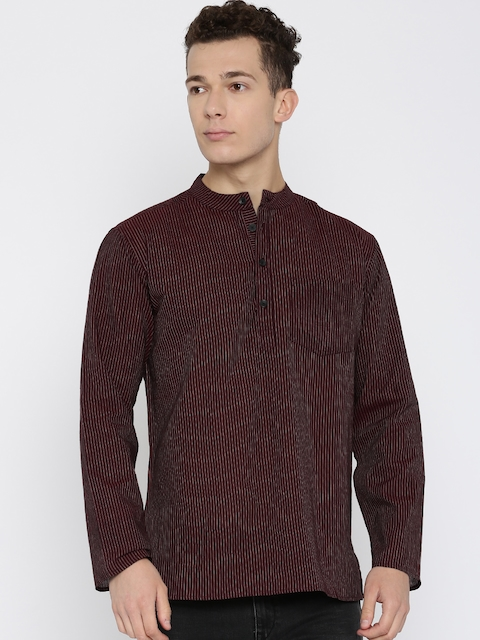 Svanik Men Brown Striped Straight Kurta  available at myntra for Rs.349