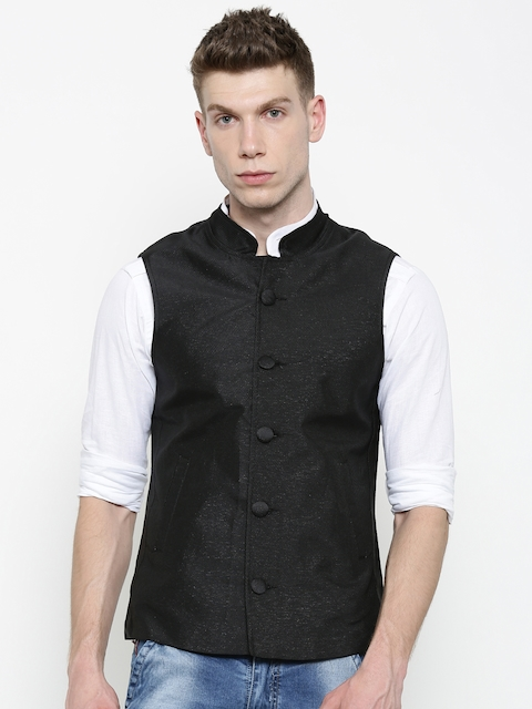 Svanik Black Slim Fit Nehru Jacket