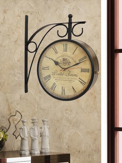 Home Sparkle Beige Analogue 29 cm Wall Clock