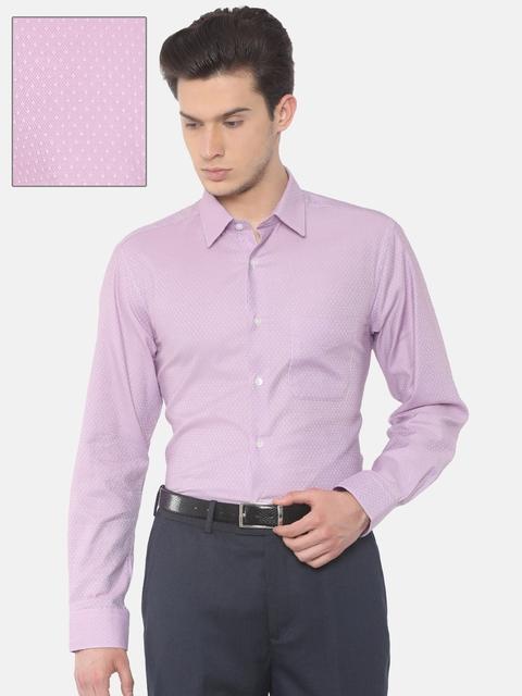 Peter England Men Pink Self-Design Formal Shirt