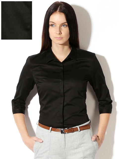 Van Heusen Woman Black Solid Formal Shirt