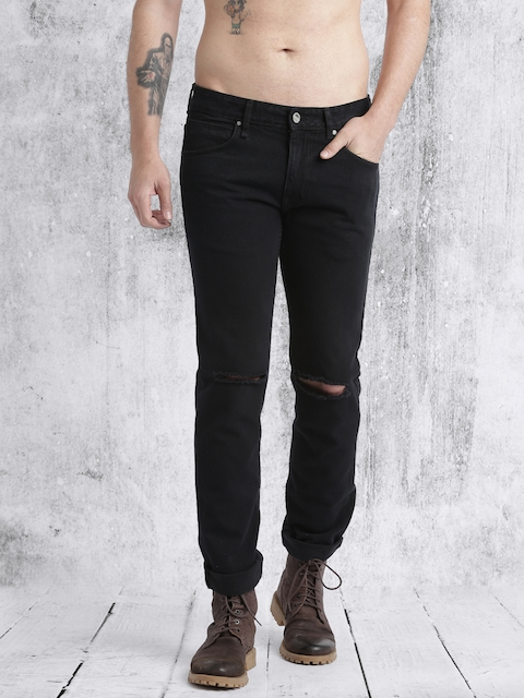 Roadster Men Black Mid-Rise Slash Knees Jeans