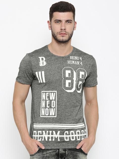 Being Human Men Black & White Printed Round Neck T-shirt