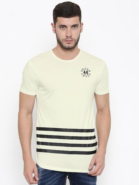 Being Human Clothing Men Cream Striped Round Neck T-Shirt