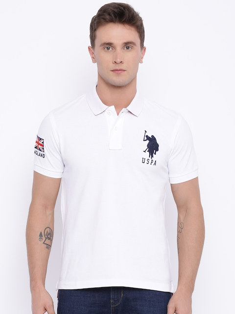 U.S. Polo Assn. Men White Solid Polo T-shirt