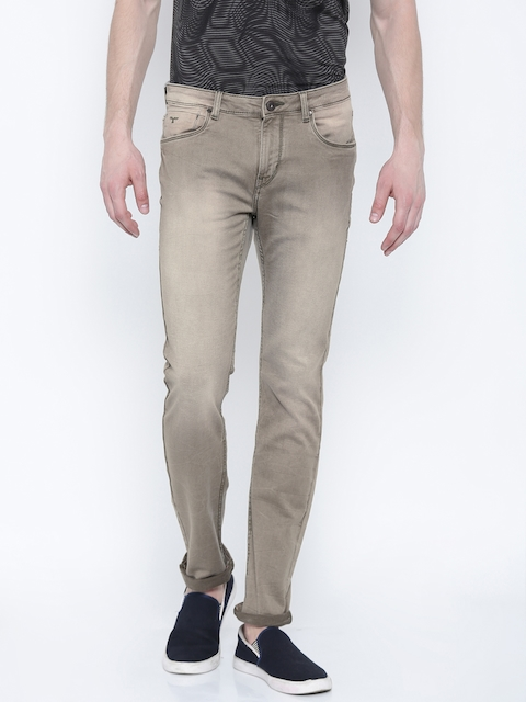 Flying Machine Men Beige Michael Slim Fit Mid Rise Clean Look Jeans
