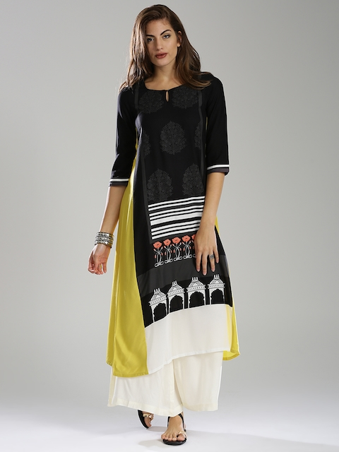 W Women Black & Yellow Printed A-Line Kurta