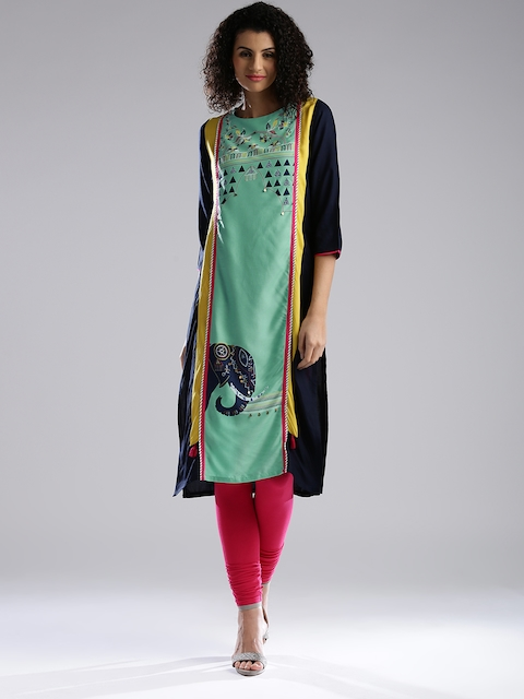 W Women Mint Green & Navy Printed Straight Kurta