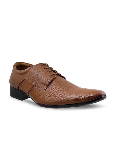 Mochi Men Tan Brown Leather Formal Derby Shoes