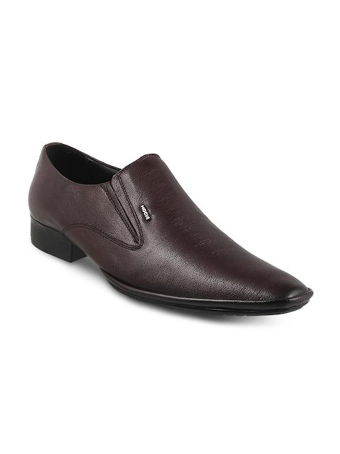 Mochi Men Maroon Textured Slip-On Formal Shoes