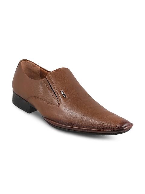 Mochi Men Tan Textured Slip-On Formal Shoes