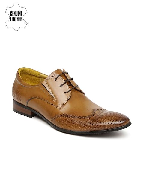 Arrow Men Tan Brown Textured Genuine Leather Derbys