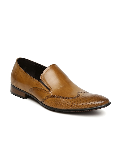 Arrow Men Tan Brown Textured Leather Semiformal Slip-Ons