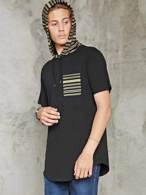 FOREVER 21 Men Black Solid Hooded T-shirt