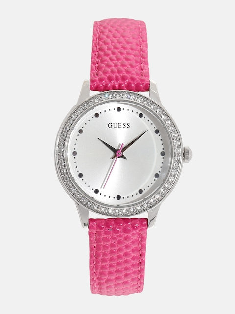 GUESS Women Off-White Stone-Studded Dial Watch W0648L15