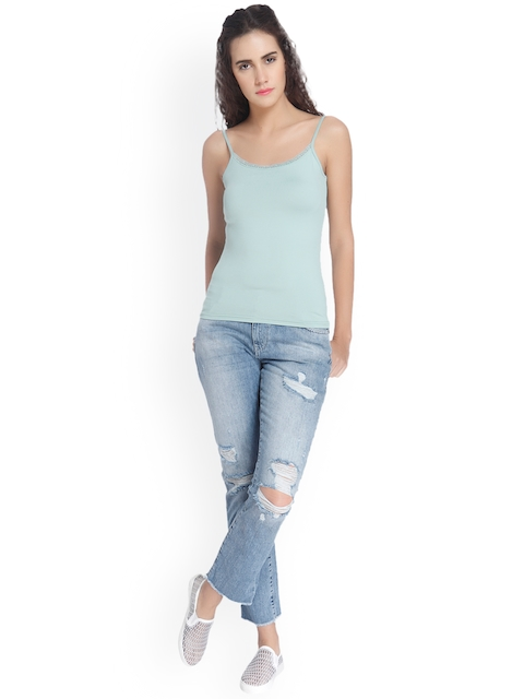 Vero Moda Women Blue Solid Tank Top