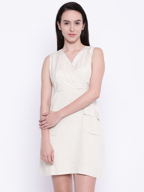AND Women Beige A-Line Dress