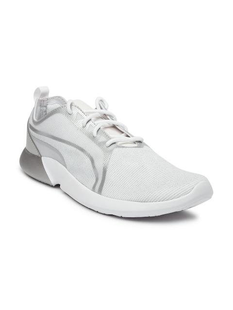 Puma Women White & Silver-Toned Vego Evo Metallic Sneakers