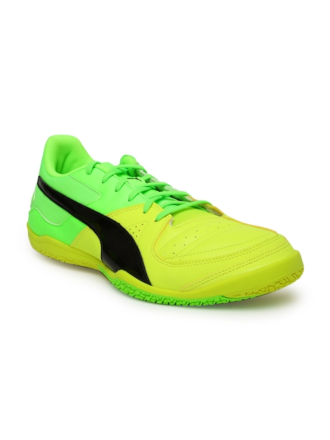 Puma Men Yellow & Flourescent Green Colourblocked Gavetto Sala Football Shoes