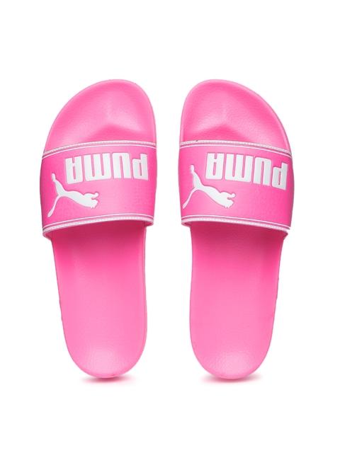 Puma Unisex Pink & White Leadcat Printed Flip-Flops