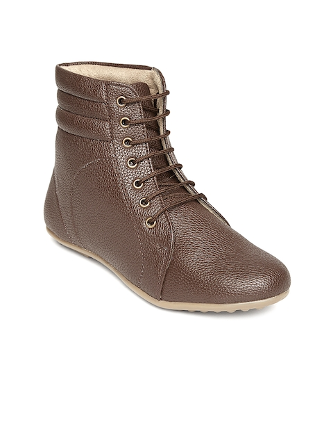 Marc Loire Women Brown Solid High-Tops Flat Boots