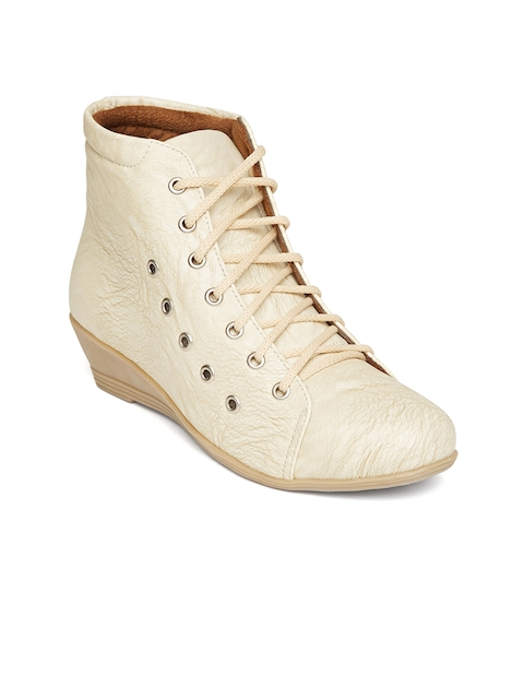 Marc Loire Women Cream-Coloured Solid Heeled Boots